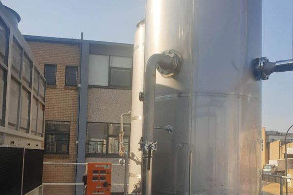 The domestic hot water tanks serving the facility.
