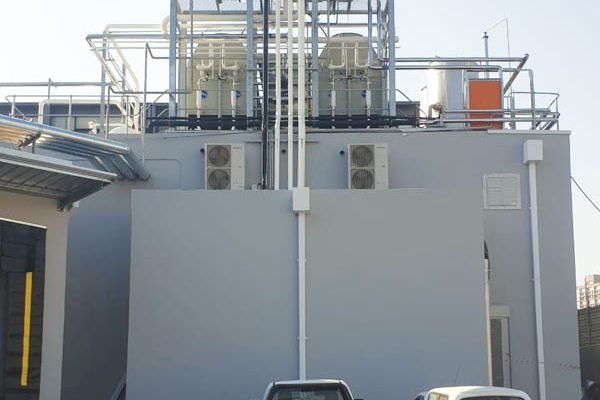 The outside view of the condenser yard and plant room.