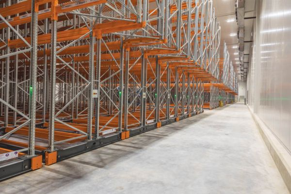 Each of the cold rooms are fitted with a mobile racking solution.