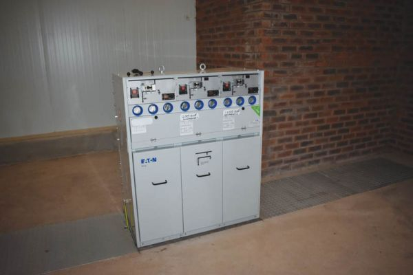 The 3-phase electricity box in the electrical plant room.