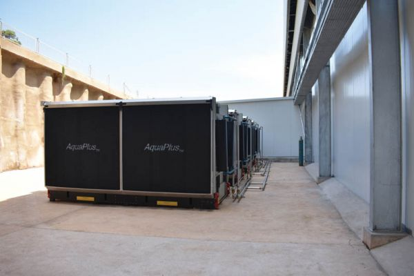The gas coolers installed outside the main refrigeration plant room.